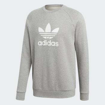 Adidas TREFOIL WARM-UP CREW, moški pulover, siva